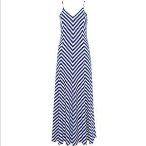 Polo Ralph Lauren blue and white jersey maxi dress